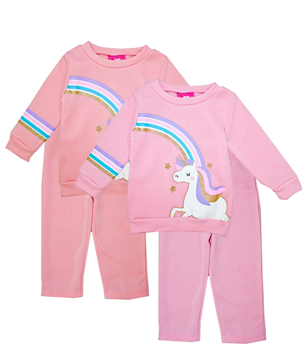 GIRLS PINK Infant Unicorn Rainbow Screen Crew Neck Fleece
