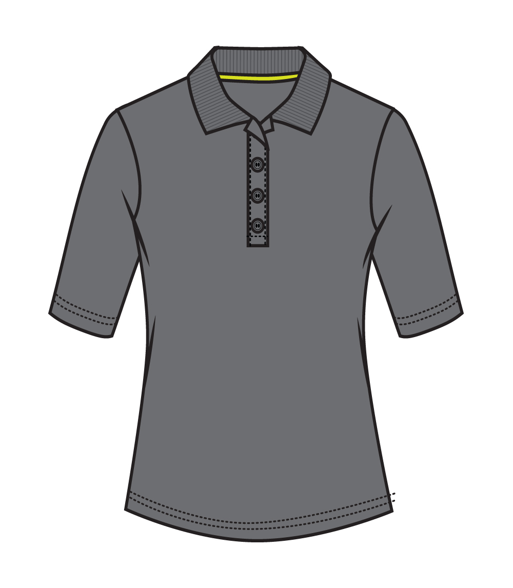 3/4 Sleeve Performance Polo Charcoal