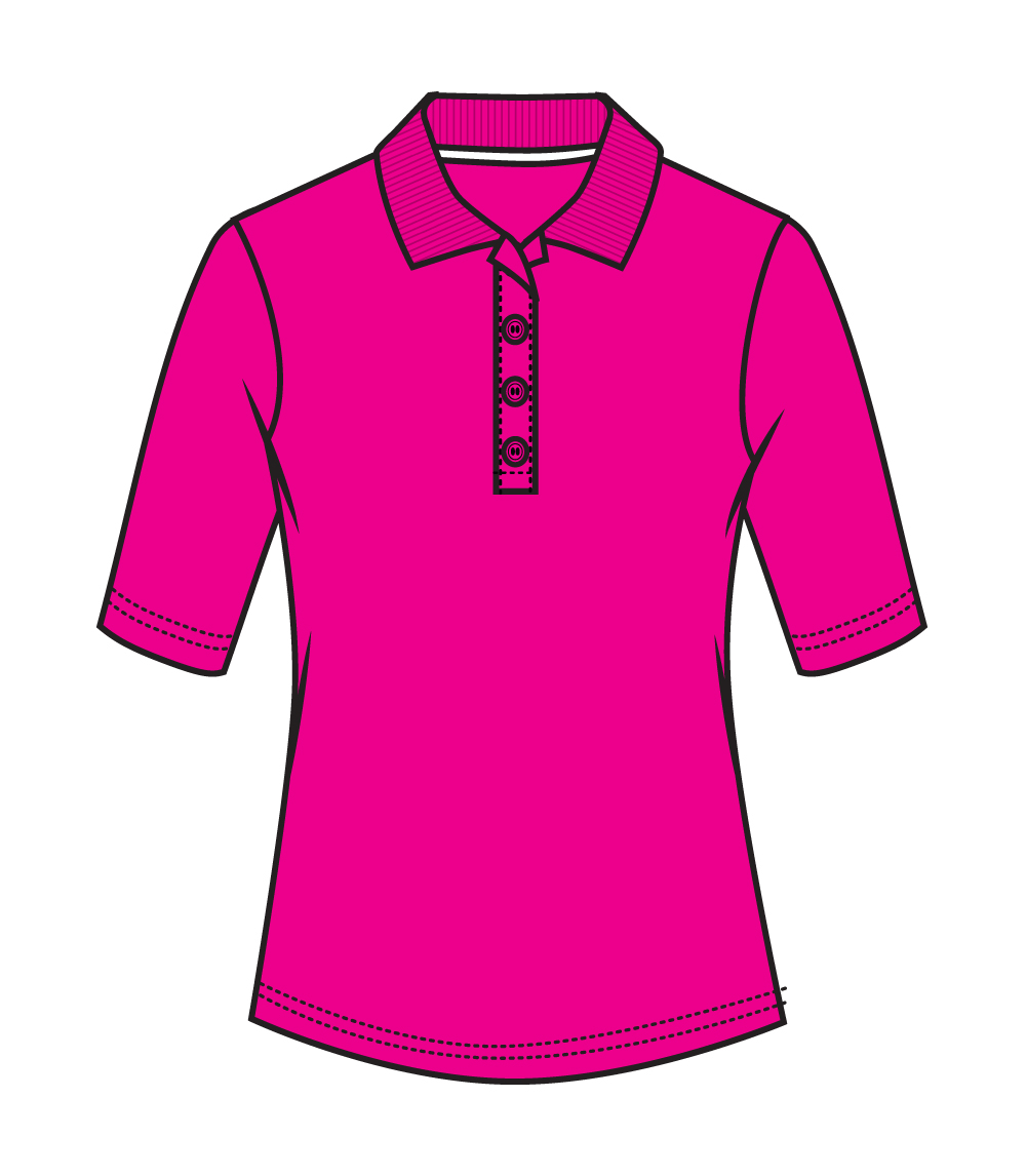 3/4 Sleeve Performance Polo Fuchsia