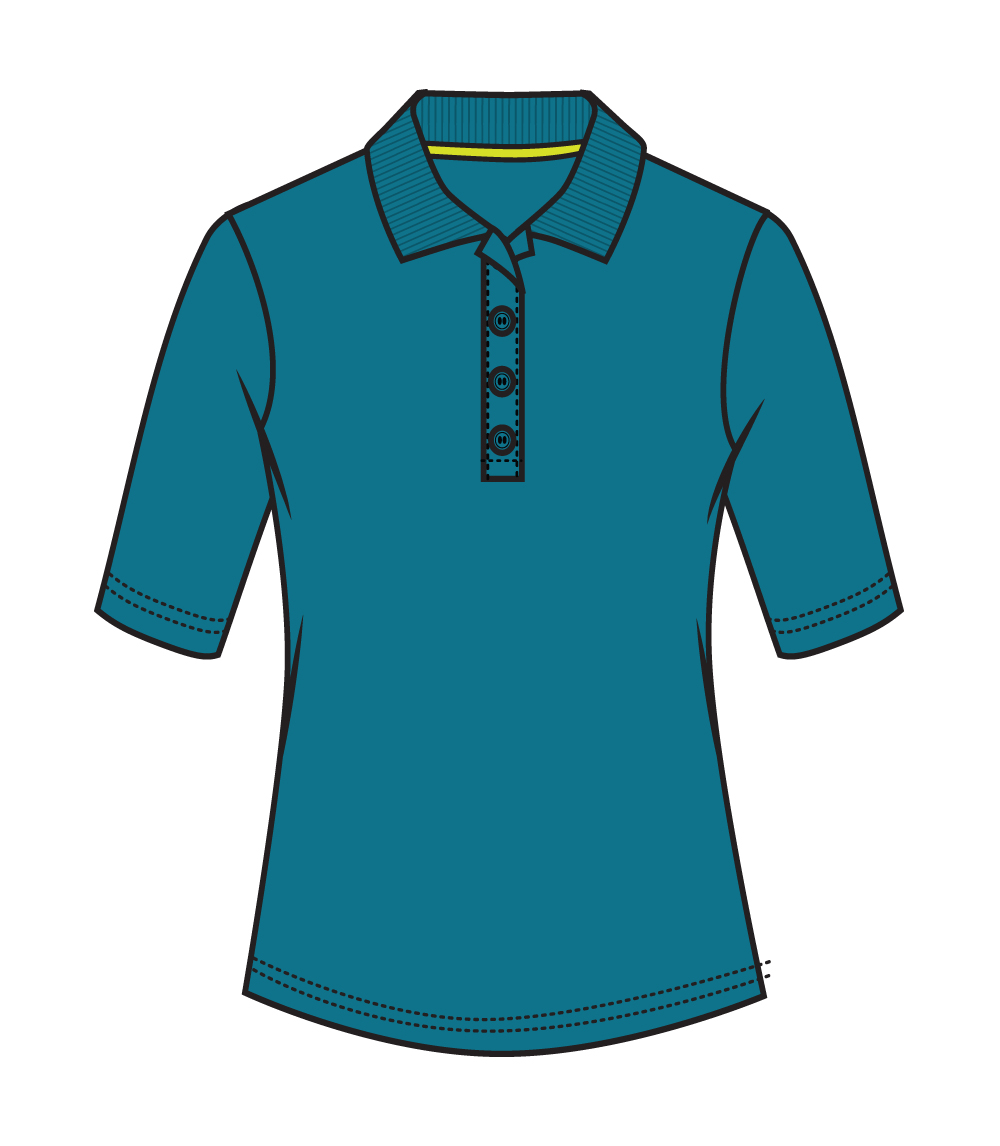 3/4 Sleeve Performance Polo Teal