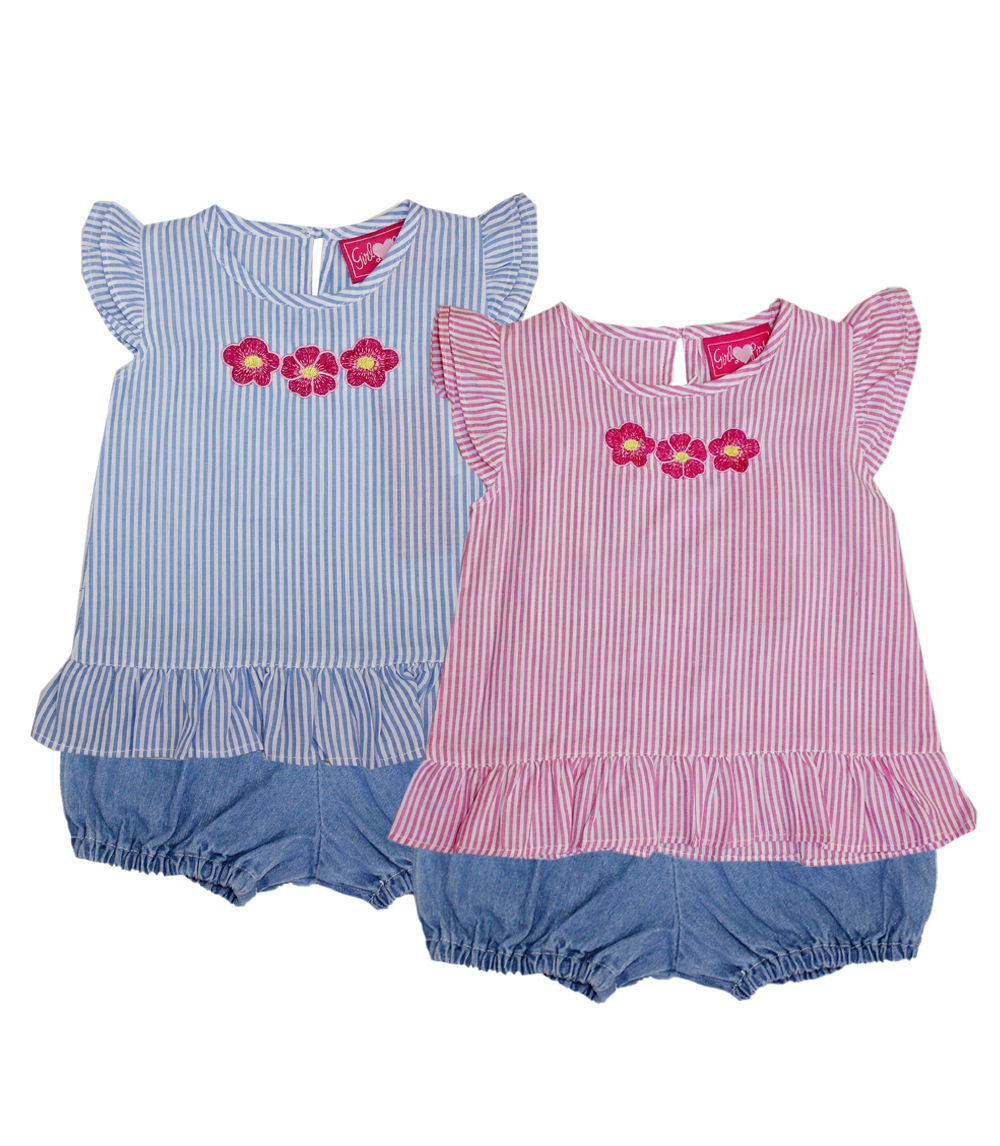 Girls Two-Piece Chambray Short Sets