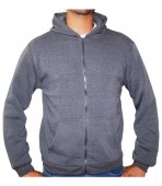 Zip Front Fleece Hoodie Jacket Charcoal