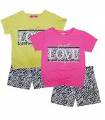 GIRLS PINK Love Screen Top and Woven Shorts