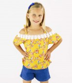 GIRLS PINK Printed Top with Lace and Denim Shorts_product_product_product