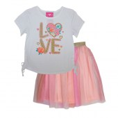 GIRLS PINK Love Screen Top with Cinched Sides and Rainbow Tulle Skirt