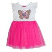 GIRLS PINK Butterfly Screen Tulle Dress