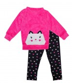 Girls Woobie Top Fur Animal Pocket Cat with Printed Legging 2 pc set