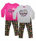Girls Queen print long sleeve top with Haci leggings 2 PC set girls luv pink