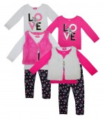 Girls 3 Pc Love Unicorn Set with Fuzzy Fur Vest