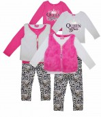 Girls 3 Pc Queen Boss Set with Fur Vest