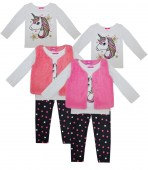 Girls Unicorn glitter print long sleeve top with yummy leggings and Vest 3 pc set