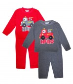 Teddy Boom Toddler crew neck fleece set with Fire truck applique