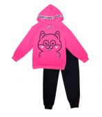 Girls Hooded with Taping in Neck and Kangaroo Pocket Jogger Bottom w Strapping 2 pc set