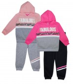 Girls Fabulous and Animal screen fleece hoodie 2 pc set